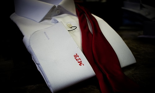 Embroidered Initials On Mens Dress Shirt